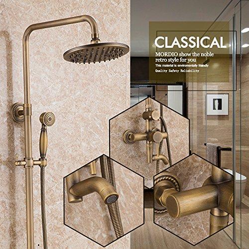 Luxurious shower Badezimmer Dusche feste Roundwall angebrachten Wasserhahn Handheld Duschkopf Antike inspiriert aus massivem Messing Dusche Dusche Armaturen, Gelb (Handheld-duschkopf Antik)
