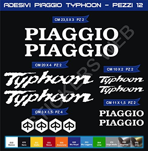 Pegatinas adhesivos PIAGGIO VESPA TYPHOON para motos, motocicletas. Cod.0561 (Bianco cod. 010)