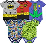 Warner Bros. Body de Superhéroes para Bebé-Niños - Batman, Robin, el Joker y Riddler (Pack de 5), Multi 0-3 Meses