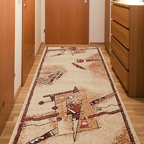 Tapiso Atlas Läufer Flur Kurzflor Teppich Küche Wohnzimmer Streifen Linien Abstrakt Figuren Muster Braun Beige Creme ÖKOTEX 60 x 300 cm