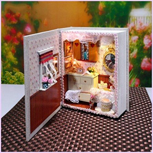Miniatur DIY Hausbuch Holz niedlich Zimmer mit LED Möbel Kit Mädchen Geschenk Spielzeug Halloween Taschen für Kinder ()