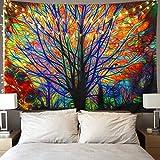 HailiCare 150x130cm Bunter Baum Tapisserie Wandbehang Psychedelischer Wald mit Vogel Wand Tapisserie Böhmischer Mandala Hippie Tapisserie für Schlafzimmer Wohnzimmer Schlafsaal