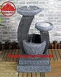 Wehmann Solarspringbrunnen Solarbrunnen Cascade Garten Brunnen Kaskade Komplettset für Garten und Terrasse Tag und Nacht ! mit externer Solaranlage ! ✔Neu