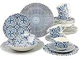 Creatable 19925, Serie Marrakesch Blue, Geschirrset 30 teilig Kombiservice, Stein, Mehrfarbig, 40 x 32.5 x 32 cm, Einheiten
