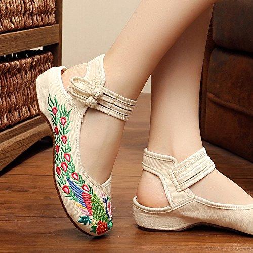ZLL Gestickte Schuhe, Sehnensohle, ethnischer Stil, Femaleshoes, Mode, bequem, Tanzschuhe , navy blue , 38