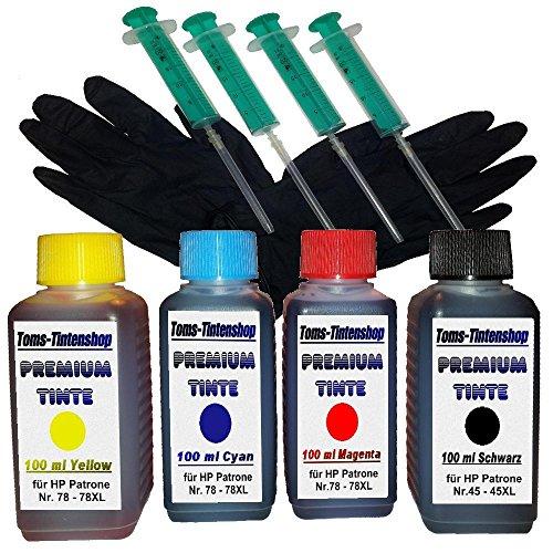 Preisvergleich Produktbild Refill Tinte Set Nachfülltinte 4x Tinte 100 ml für Patronen HP 45 und HP 78 plus 4 Nachfüllspritzen mit Nadeln und 1 paar Latexhandschuhe