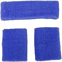 Conjunto de muñequeras y diadema contra el sudor, unisex azul azul claro