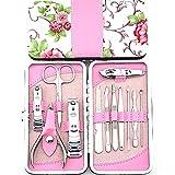 icase4u® Rosa 12-teiliges Nageletui Kits Nagelpflege Set für Maniküre und Pediküre inkl. Nagelzange, Nagelknipser, Nagelschere, Pinzette etc.