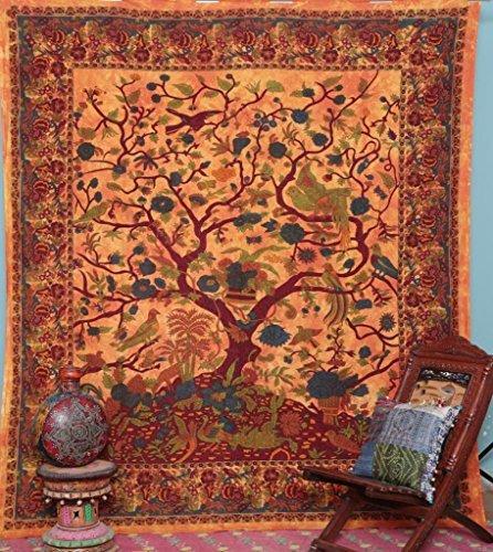 Handicrunch Orange indische Baum des Lebens Tagesdecke Blossom Vogel Tapestry (Die Blossom Bettdecke)