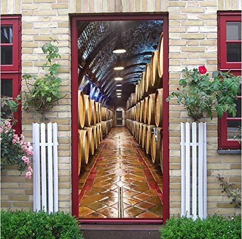 Tür wandaufkleber, Weinkeller 3d Wandbilder Home Decor für Kinder Wohnzimmer Schlafzimmer, Selbstklebende PVC, Wasserdicht Abnehmbare Tapete, Dekoration Aufkleber Kunst Poster, 77x200cm