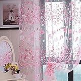 Wingogo Floral Print Tüll Vorhang Voile Tür Fenster Zimmer Sheer