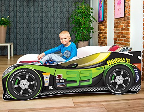 Sale +++ The Best Quality Baby Kids Bed Toddler Car Junior Bed with Mattress 140 x 70 cm 160 x 80 cm 180 x 80 cm (140x70cm Untill 5 Jears, Green) Nobiko Kids Bed + Foam Mattress in 3 Sizes: 140 x 70 cm untill 5 jears 160 x 80 cm untill 8 jears 180 x 80 cm untill 12 jears Greengard Gold - Product certified for law chemical emissions Ecologo - Product certified for reduced environmental impact 1