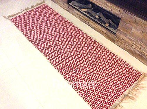 Rojo crema moderno Diamantes Zig Zag contemporáneo alfombra hecha a mano algodón Natural y yute flecos Reversible & se puede lavar a máquina. Kilim Dhurrie respetuoso con el medio ambiente comercio justo alfombrilla de alfombra de tejido plano pasillo, RED, CREAM, Runner 70x200cm - (2'4x6'7)