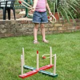 GARDEN/OUTDOOR ROPE QUOITS & WOODEN PEGS THROWING GAME - EB - amazon.co.uk