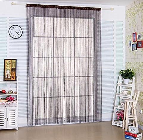 Spaghetti String Vorhang für Home Decor und Trennwand mit Creative Streifen Quaste Design, Polyester, coffee, W90cm x L245cm (35