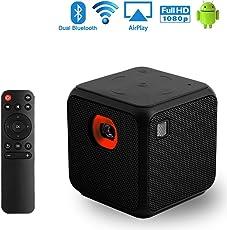 Mini Beamer, Sysmarts Portable Mini Pocket Größe Mobile Pico Videoprojektor für iPhone und Android, Dualband WiFi Heimkino Cinema Projektor mit Full HD 1080P USB Bluetooth (Schwarz)