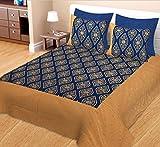 Jaipuri Patola Gold Print Cotton Bedshee...