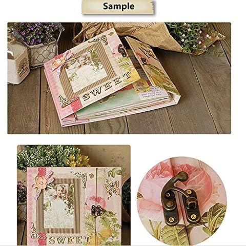 Woodmin Luxus DIY Foto Album Kit, Taschen Seiten Scrapbooking Box Kit, Hochzeit Album Valentinstag Geschenk (Rosa)