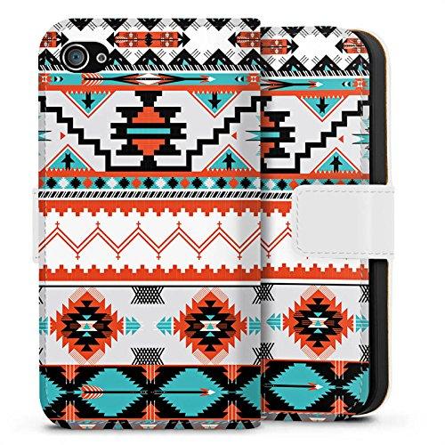 Apple iPhone X Silikon Hülle Case Schutzhülle Ethno Azteken Muster Sideflip Tasche weiß