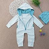 Igemy Kleinkind Baby Jungen Splice Hooded Spielanzug Overall Spielanzug Outfits Kleidung (80, Grau)