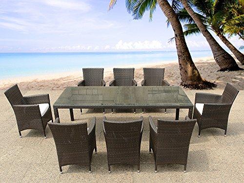 Set di tavolo e sedie da giardino in rattan 220cm 8 for Set giardino rattan