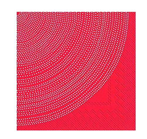 Fokus Rouge Rouge Pois Blanc Cercles Marimekko Lot de 20 serviettes de table papier Serviettes 33 cm Carré - Rouge Papier