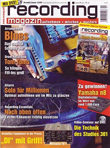 Recording Magazin 1 2009 mit DVD - Technik Studio 301 Videoseminar - Drum Recording - aufnehmen - mischen - mastern
