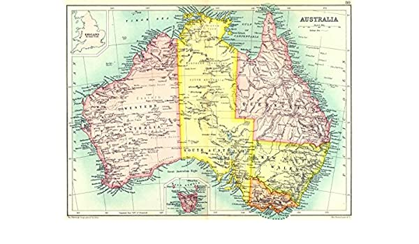 Map From England To Australia.Australia Showing States Territories Inset England On Same Scale