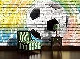 DekoShop Fototapete Vlies Tapete Vliestapete Moderne Wanddeko Wandtapete Wand Dekoration Graffiti - Fußball auf Ziegelwand AMD2021V4 V4 (254cm. x 184cm.) Wallpaper Tapetenkleister und Überraschungsaufkleber Gratis
