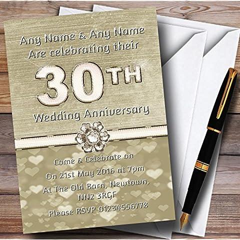 Titanium oro y blanco 30Th personalizable aniversario fiesta invitaciones/invita y sobres, 40 Invites & Envelopes