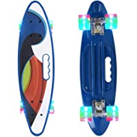 """GetBolles 22"""" Complete Cruiser Skateboard with Colorful LED Light UP Wheels for Kids/Boys/Beginners"""