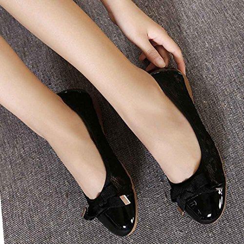Transer® Damen Flach Mokassins Frühling/Herbst Casual Schuh PU-Leder+Dichotomanthes Sandelholz Slipper(Bitte eine Nummer größer bestellen. Vielen Dank!) Schwarz