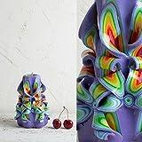 [Sponsorizzato]Candela - Intagliata a Mano Viola e Arcobaleno - Idee Regalo Per la Festa Della Mamma - Decorazione da Casa - EveCandles