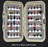 PRESTIGE FAWN FLY BOX & 60 BARBLESS Trout fly fishing flies DRIES WETS & NYMPHS ON SIZES 10 12 OR 14 SIZE Hooks (Hook size BL12)