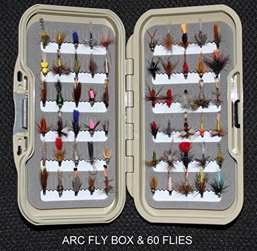 Prestige Fawn Fly Box & 60ohne Widerhaken Fliegenfischen Fliegen Nassfliegen trocknet & Nymphs auf Größen 1012oder 14Größe Haken (Barbless Hook Dry Fly)