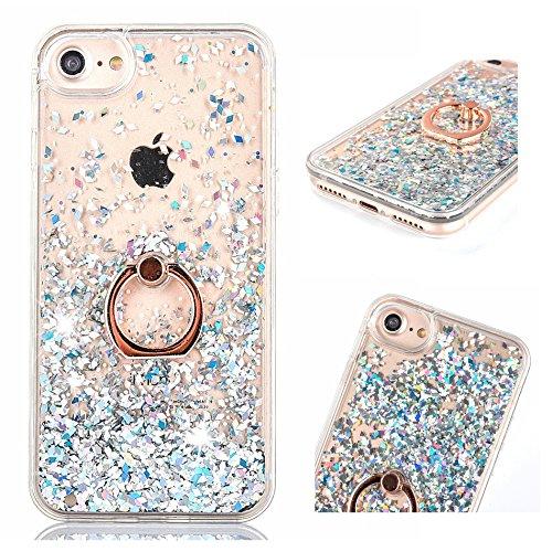 �lle für iPhone 6 Plus / iPhone 6S Plus, ZCRO Handyhülle Case Hülle Glitzer Flüssig Transparent Silikon Cover mit Ring Halterung Ständer für iPhone 6 Plus / iPhone 6S Plus (Silber) ()