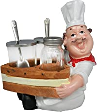 EZ Life Chef Resin Holder Boat with 2 Pickle Jars & 1 Shaker Bottle - Condiment Set for Dinner Table - Dining Décor