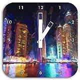 Dubai Burj al Arab Pinsel Effekt, Wanduhr Quadratisch Durchmesser 28cm mit weißen eckigen Zeigern und Ziffernblatt, Dekoartikel, Designuhr, Aluverbund sehr schön für Wohnzimmer, Kinderzimmer, Arbeitszimmer