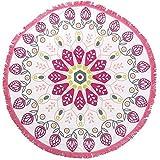 Digitale stampato rotonda telo mare in microfibra nappa frange Beach gettare pollici di vacanza styling (rosa)