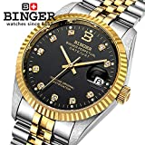 Binger Automatic Mechanical Waterproof Wristwatch - BG-0373-01 - Black