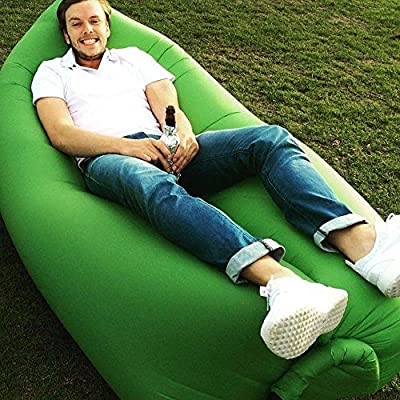 Starmo Green Inflatable Lounger Sofa Sleeping Bag,Compression Air Beds,Portable Chair,Air Mattresses Beds.Ideal For Lounging, Camping, Beach, Fishing, Kids, Chilling, Parties, Swimming Pools, Camping And More.
