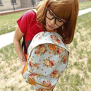 6198%2BeeIa1L. SS300  - Canvas Floral Backpack Vintage Flower Design Fashion Travelling Bag Schoolbag Canvas Backpack For Girls, Flower Print Backpack (Blue)