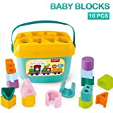 Toyshine Baby's First Shape Sorting Blocks Learning- Educational Activity Toys with 16 Building Blocks