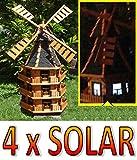 XXXL,Windmühle, windmühlen garten, WMB180at-MS mit Licht,MIT BELEUCHTUNG, windmühle mit solar, für Außen 1,80 m groß, Farbe: schwarz, anthrazit
