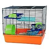 Trixie 6400 Hamsterkäfig 40  38  30 cm, orange / blau / grün