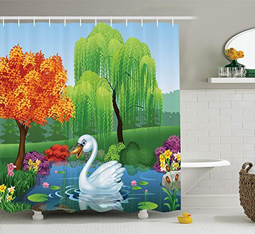 tgyew Cartoon Decor Collection, Artwork of a Swan Floats on Mountain River in The Vivid Nature Springtime, Polyester Fabric Bathroom Shower Curtain Set with Hooks, Green Blue Fuchsia,72x72 inches (Black Swan Halloween-ideen)