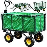 Gartenwagen Herausnehmbare Plane Bollerwagen Klappbare Seitenwände Transportwagen bis 550kg...