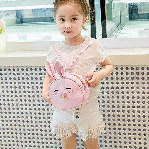 Liying Neu Kinder Umhängetasche Kindertasche Kinderrucksack Babyrucksack Rucksack Schultasche Trage Tasche Reisetasche Handtasche Cartoon bunny Tasche für Outdoor Kindergarten Pink