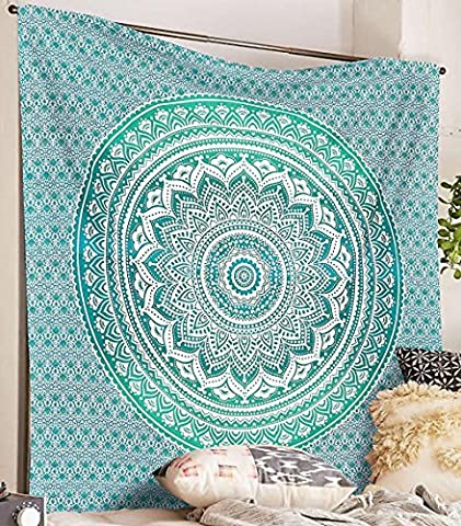 Indian-hippie Bohemian-psychedelic Ombre-mandala Wall-hanging-tapestry-light-green Queen-size-large-84 X 90