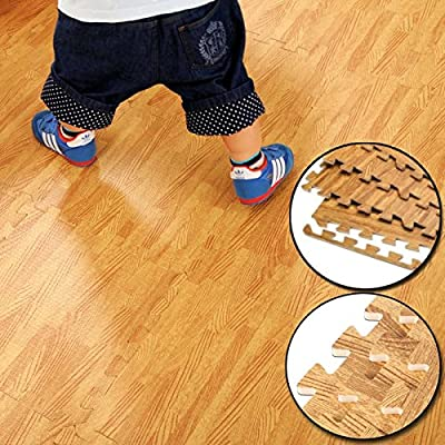FB FunkyBuys® Wood Effect 16 SQ. FT Interlocking Reversible Floor Matting suitable for Gym Outdoor/Indoor Protective Flooring Mats - - 60x60cm - cheap UK light store.